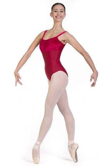 Body danza con scollatura in velluto -